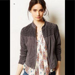 Lasercut suede jacket Anthropologie xs 0 gray